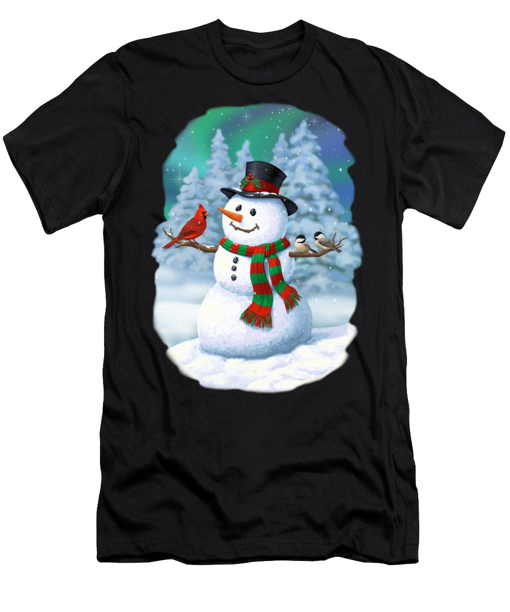 Winter Wonderland Men's T-Shirt (Athletic Fit) featuring the painting Sharing The Wonder - Christmas Snowman And Birds by Crista Forest