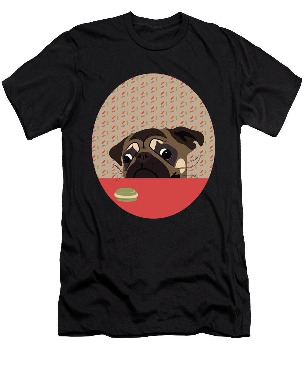 Pug Men's T-Shirt (Athletic Fit) featuring the digital art Le Pug Et Le Macaron by MarthaLilia