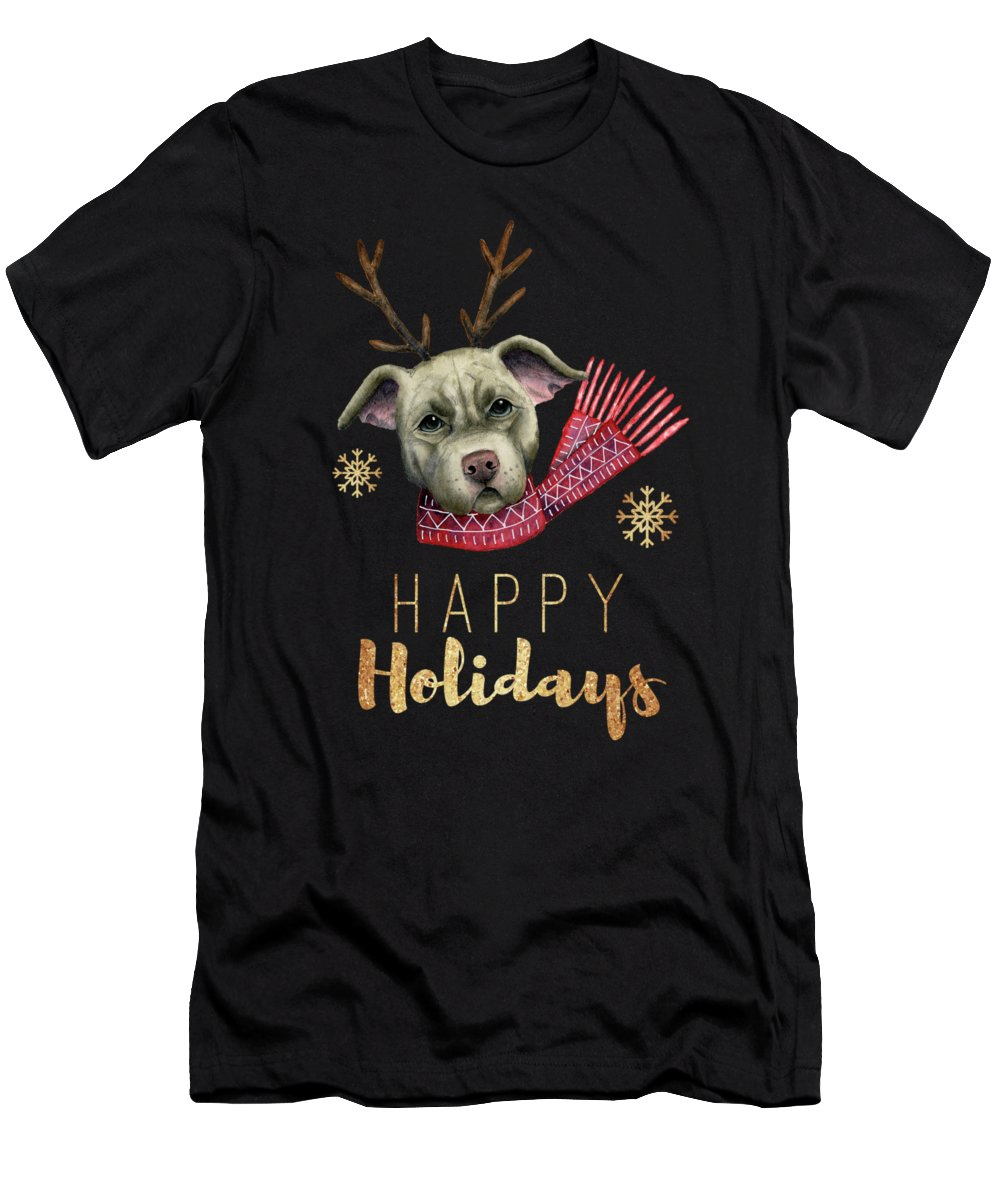 American Pit Bull Terrier Men's T-Shirt (Athletic Fit) featuring the mixed media Christmas Reindeer Pit Bull With Faux Gold Fonts by NamiBear