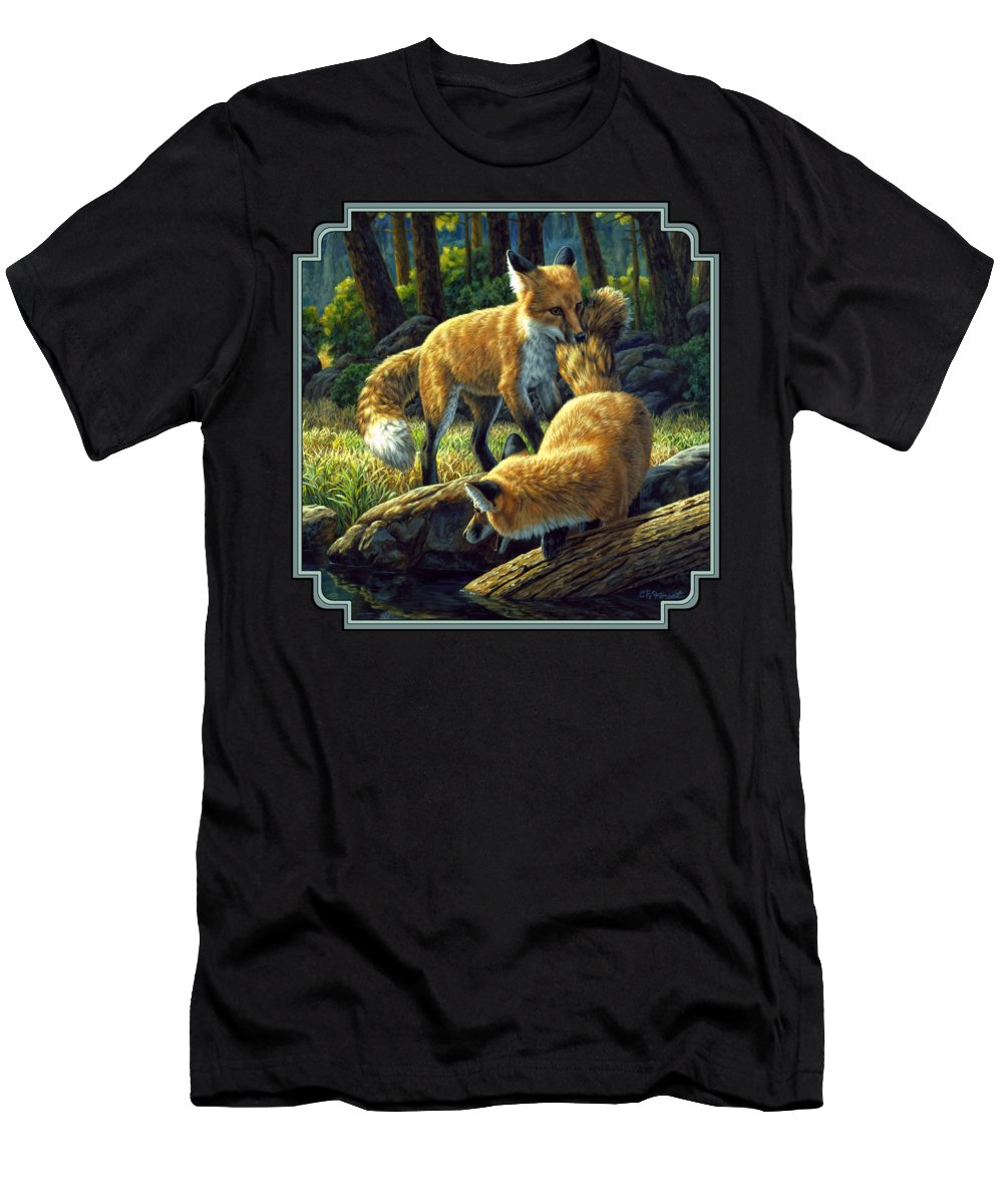 Fox Men's T-Shirt (Athletic Fit) featuring the painting Red Foxes - Sibling Rivalry by Crista Forest