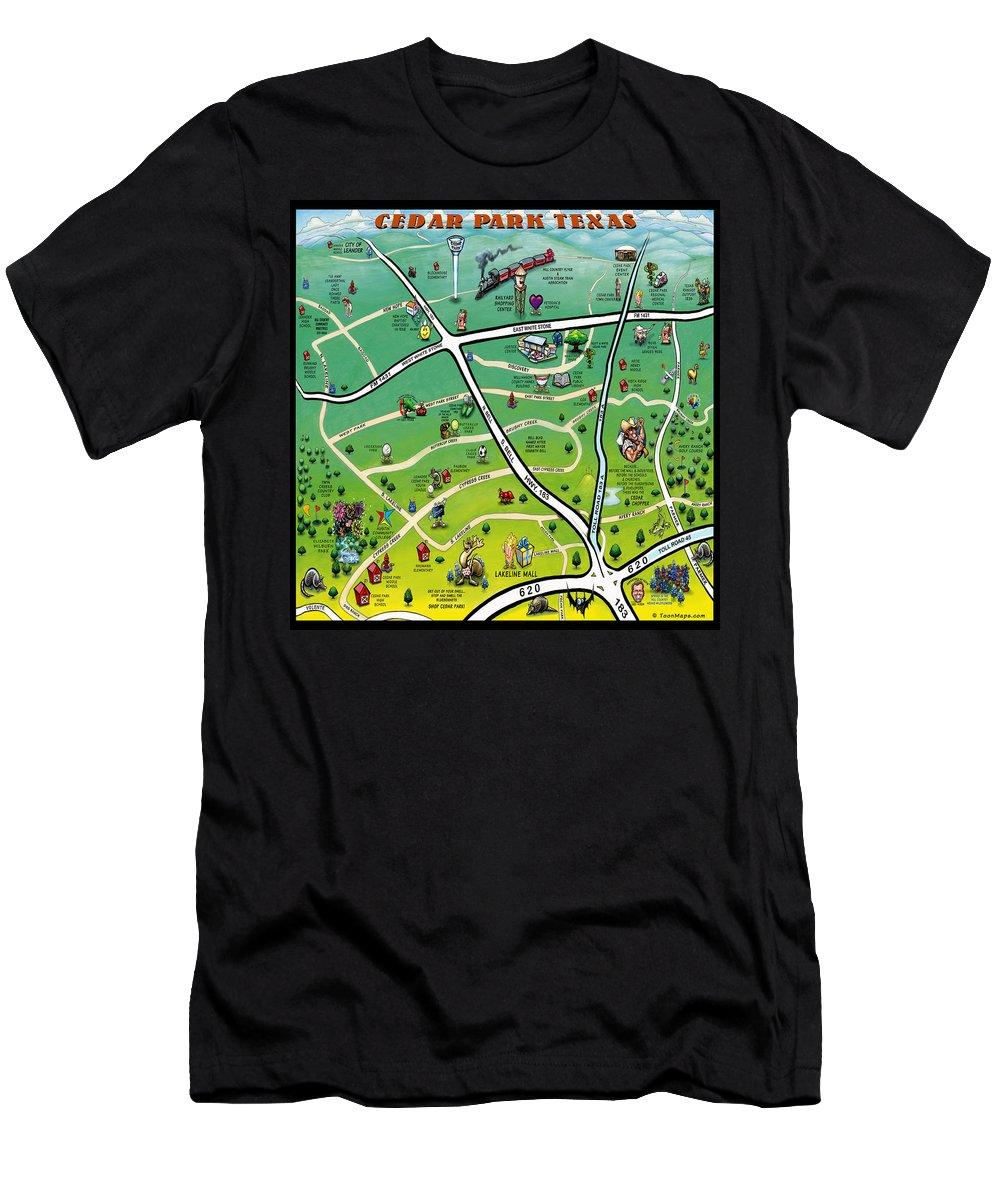Cedar Park Men's T-Shirt (Athletic Fit) featuring the digital art Cedar Park Texas Cartoon Map by Kevin Middleton