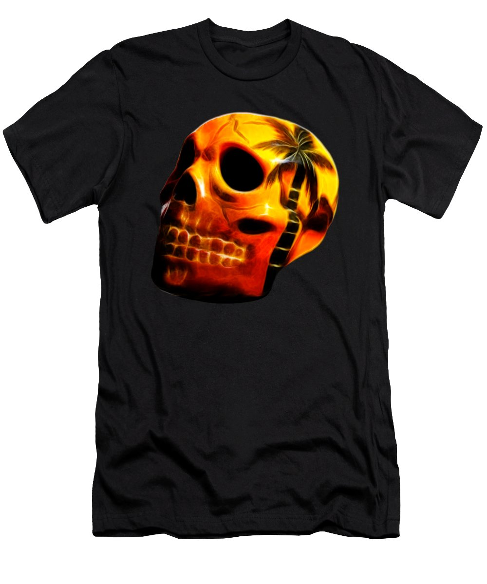 Skull Men's T-Shirt (Athletic Fit) featuring the photograph Glowing Skull by Shane Bechler