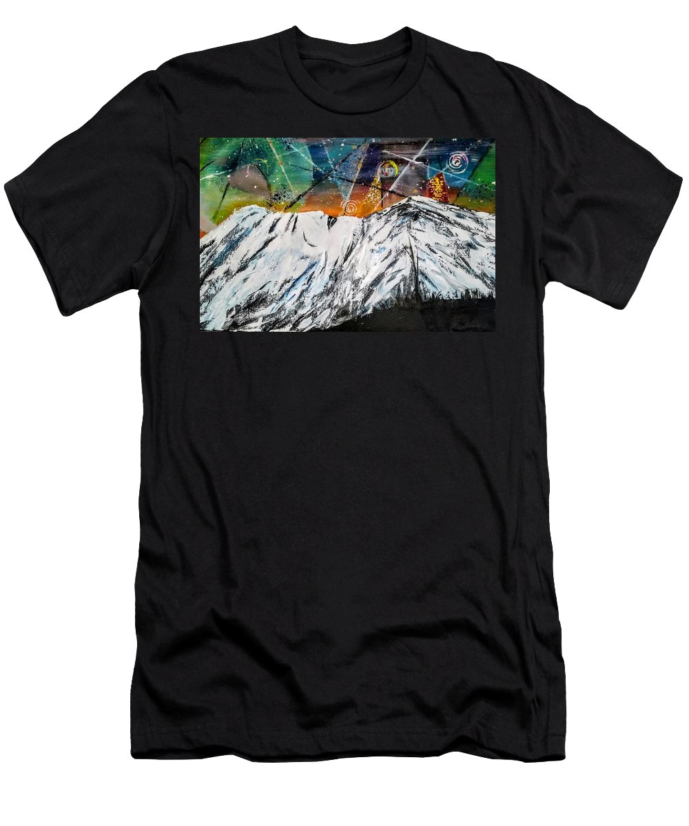 Mountains Cereal Mount Shasta Night Sky T-Shirt featuring the painting As she sleeps by Valerie Josi