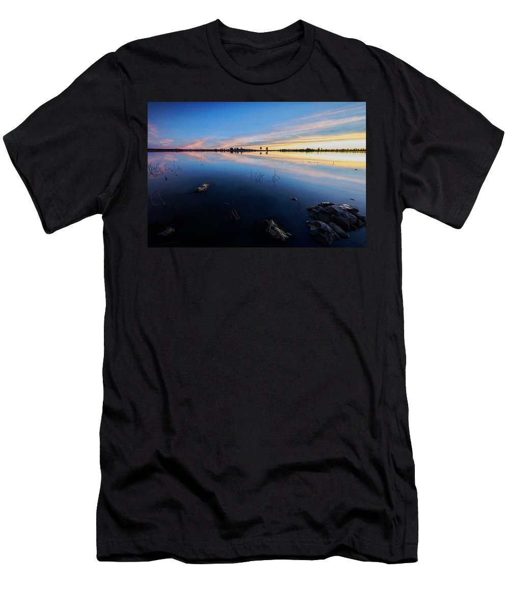 Jon Evan Glaser Men's T-Shirt (Athletic Fit) featuring the photograph Ashurst Lake Sunrise by Jon Glaser