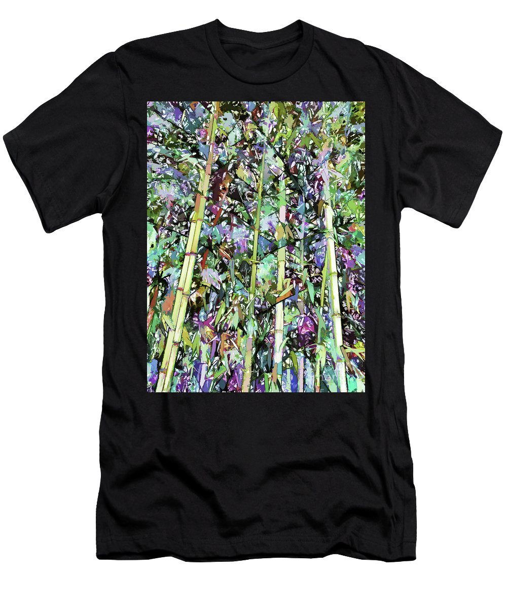 Art Of Bamboo Men's T-Shirt (Athletic Fit) featuring the painting Asian Bamboo Forest by Jeelan Clark