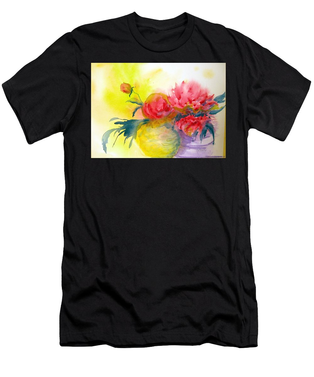 Peony Men's T-Shirt (Athletic Fit) featuring the painting Asian Peonies by Marilyn Bishop