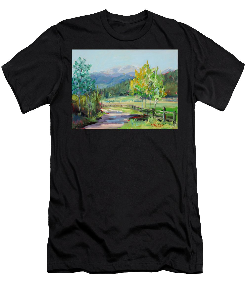 Rocky Mountains Men's T-Shirt (Athletic Fit) featuring the painting Aspen Lane by Marie Massey