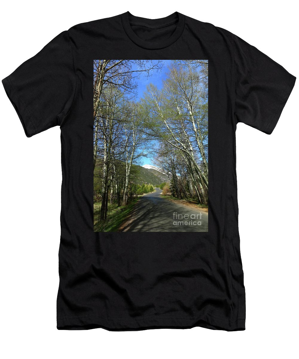 Park Men's T-Shirt (Athletic Fit) featuring the photograph Aspen Lined Road by Christiane Schulze Art And Photography