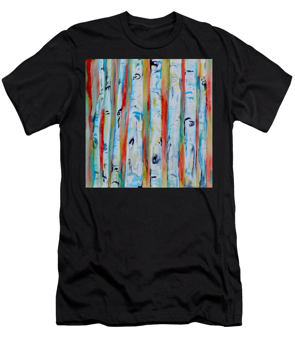 Aspens Abstract Series Men's T-Shirt (Athletic Fit) featuring the painting Aspens Abstract IIi by Beverley Harper Tinsley