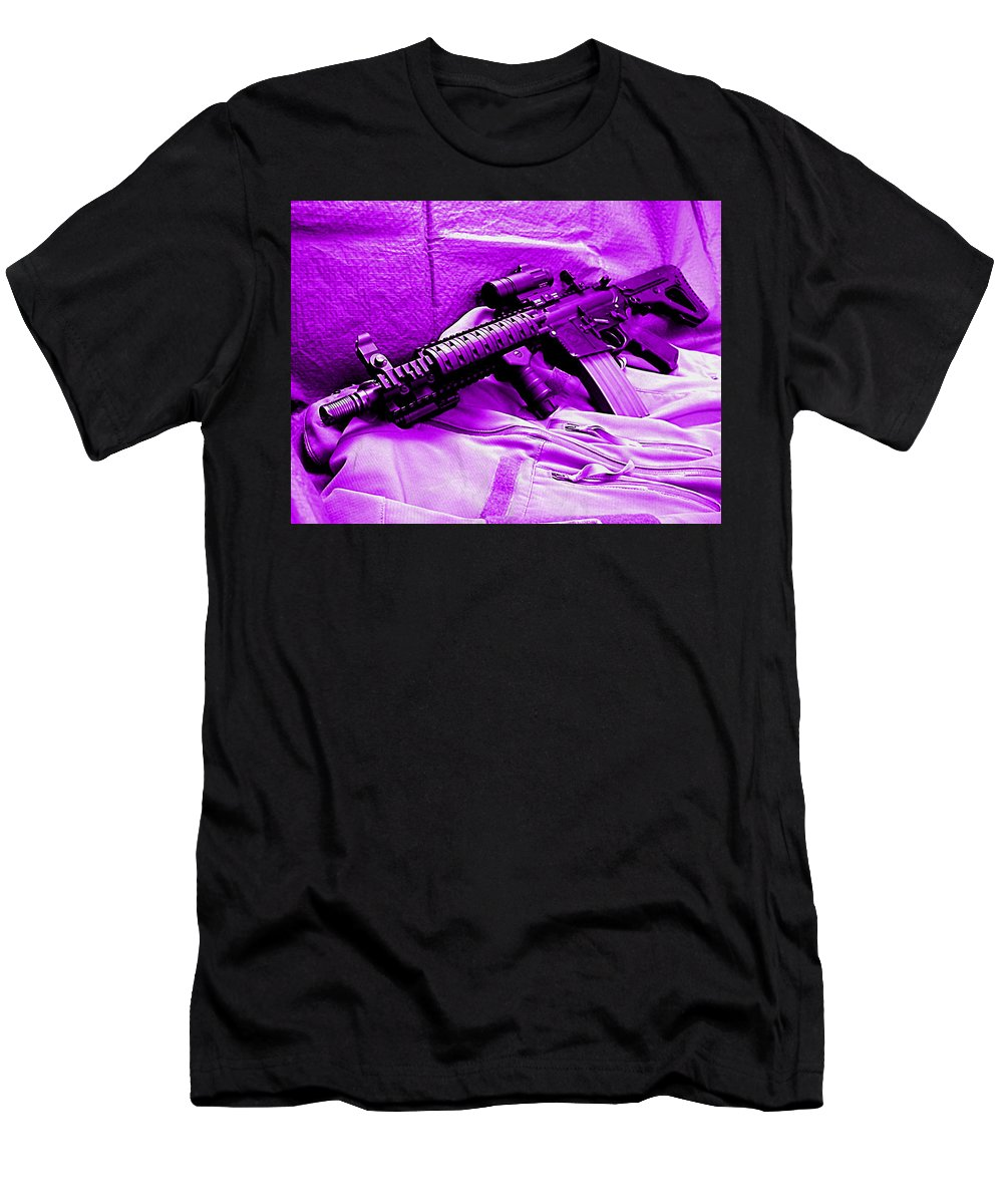 Assault Rifle Men's T-Shirt (Athletic Fit) featuring the digital art Assault Rifle by Lora Battle