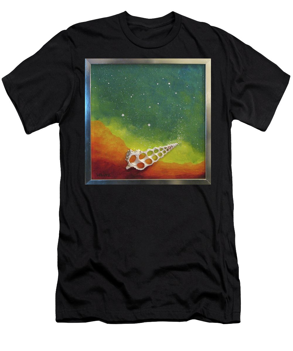 Shell Sea Ocean Stars Beach Blue Yellow Orange Men's T-Shirt (Athletic Fit) featuring the painting Assisted Nucleation by Beth Waltz