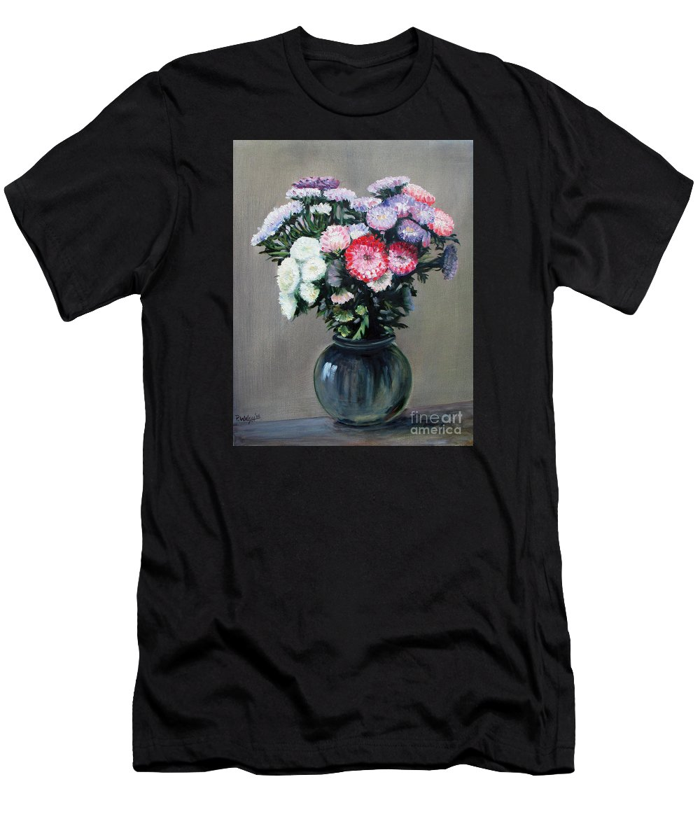 Flowers Men's T-Shirt (Athletic Fit) featuring the painting Asters by Paul Walsh