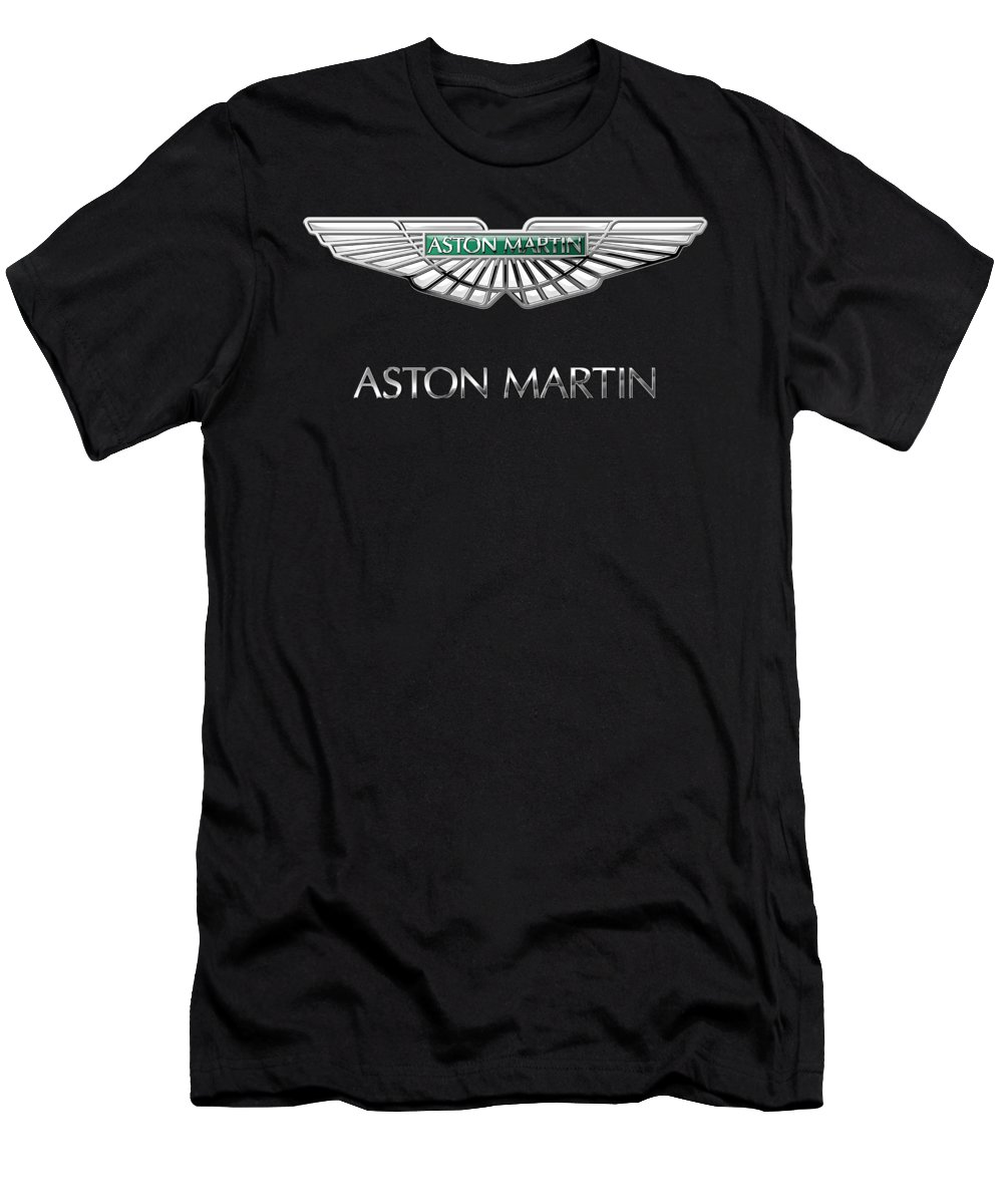 'wheels Of Fortune� Collection By Serge Averbukh Men's T-Shirt (Athletic Fit) featuring the photograph Aston Martin 3 D Badge On Black by Serge Averbukh