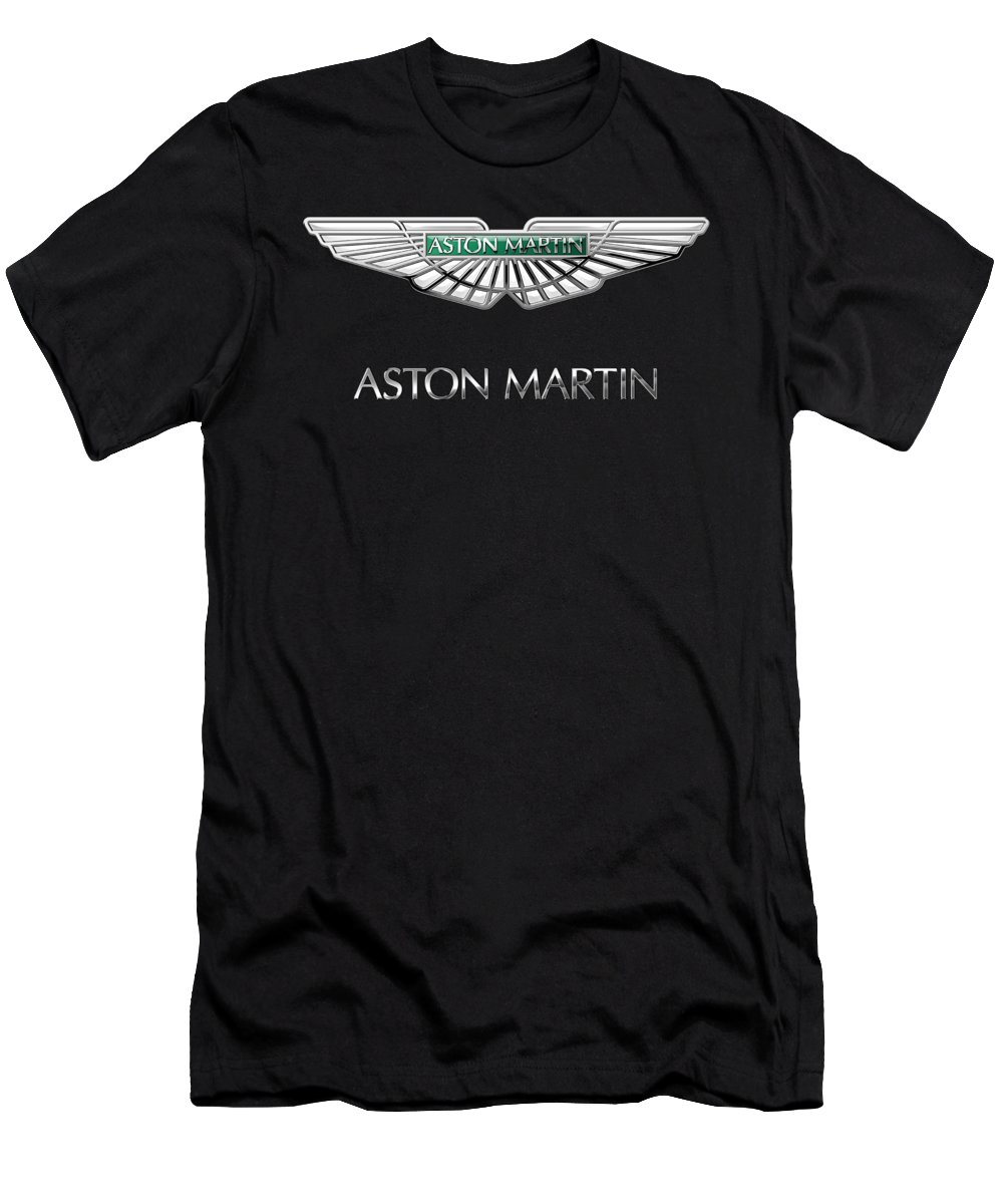 'wheels Of Fortune� Collection By Serge Averbukh T-Shirt featuring the photograph Aston Martin 3 D Badge on Black by Serge Averbukh