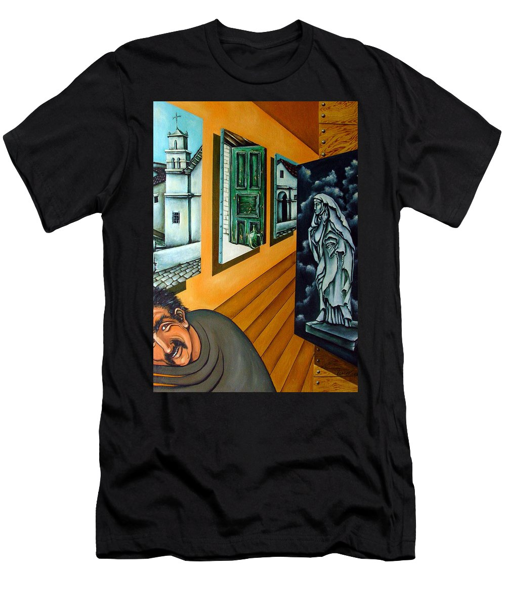 Surreal Men's T-Shirt (Athletic Fit) featuring the painting Asylum by Valerie Vescovi