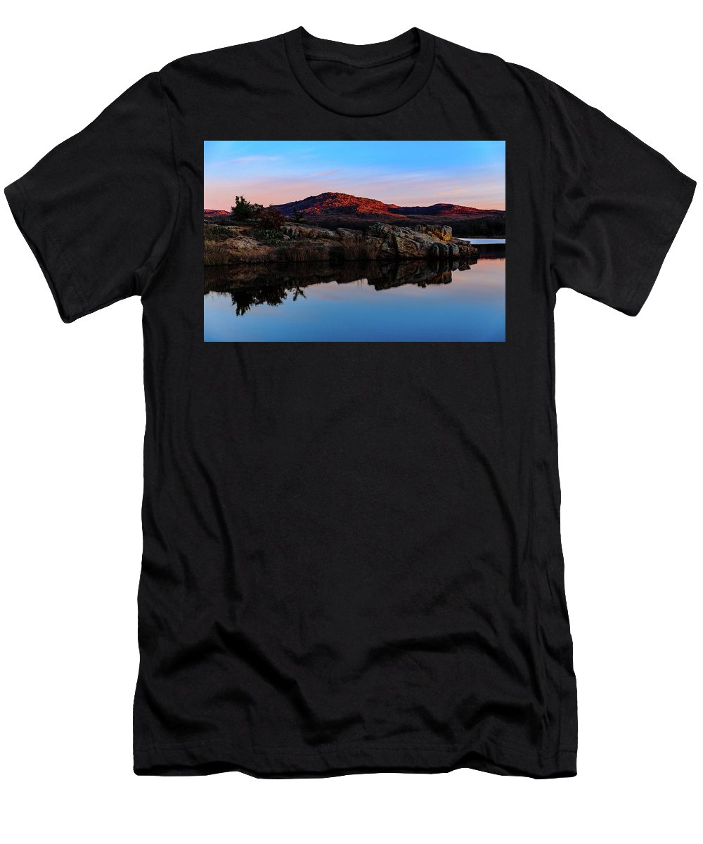Cervidae Men's T-Shirt (Athletic Fit) featuring the photograph At First Light by The Bohemian Lens LLC
