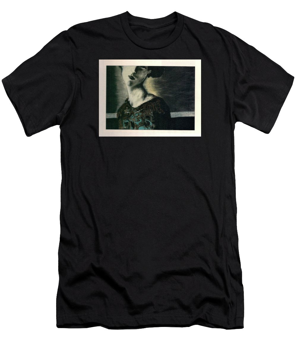 Female Men's T-Shirt (Athletic Fit) featuring the drawing At Her Gaze by Mykul Anjelo