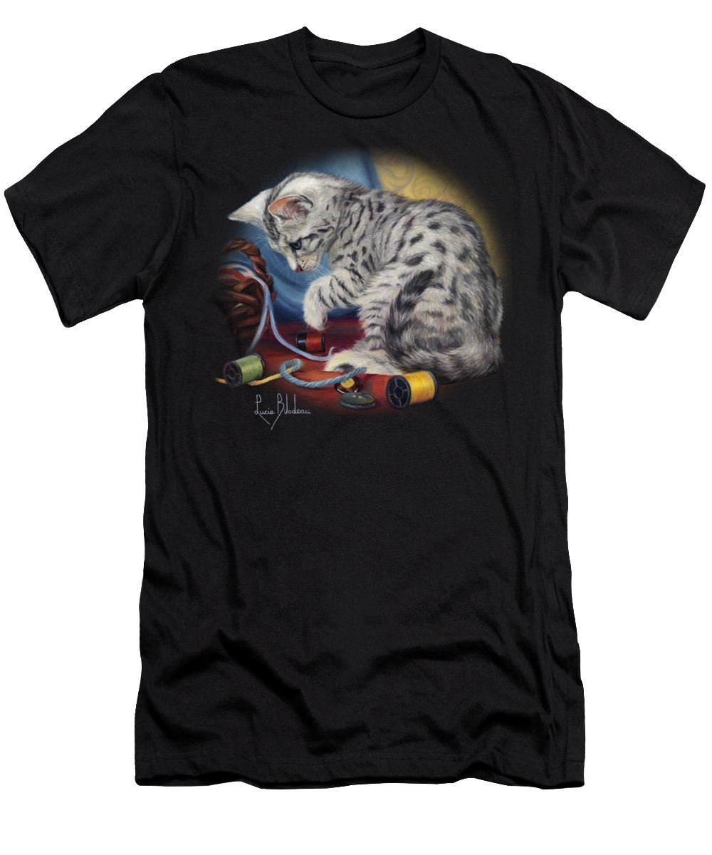 Cat Men's T-Shirt (Athletic Fit) featuring the painting At Play by Lucie Bilodeau