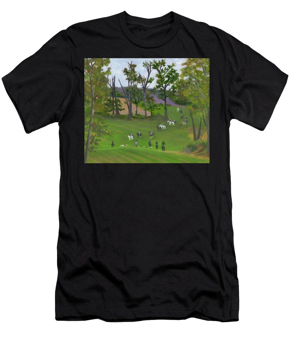 Foxhunt Scenes Men's T-Shirt (Athletic Fit) featuring the painting At The Hunt by Deborah Butts