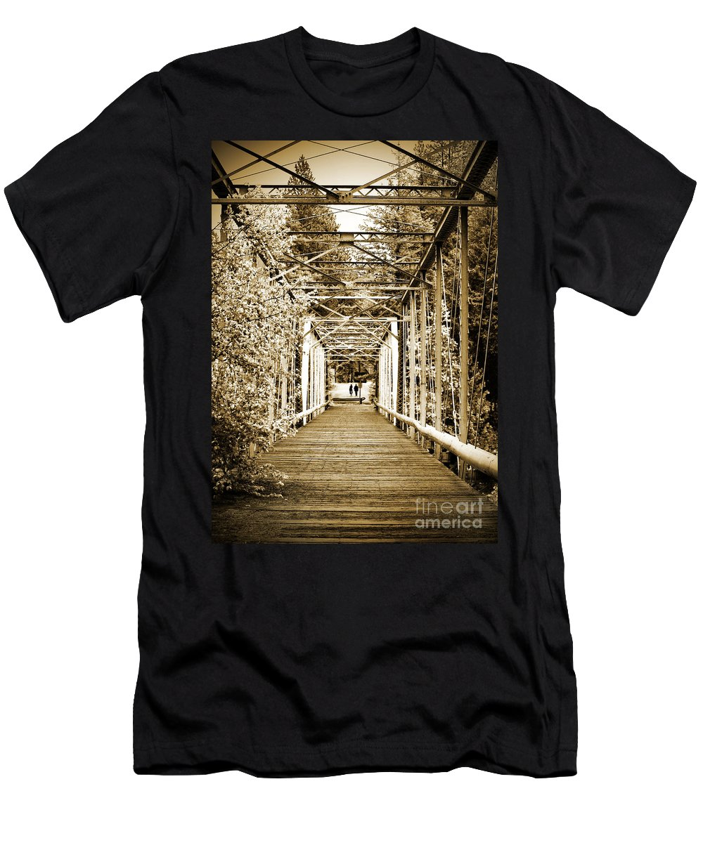 Bridge Men's T-Shirt (Athletic Fit) featuring the photograph At The Other End Of The Old Bridge by Tara Turner