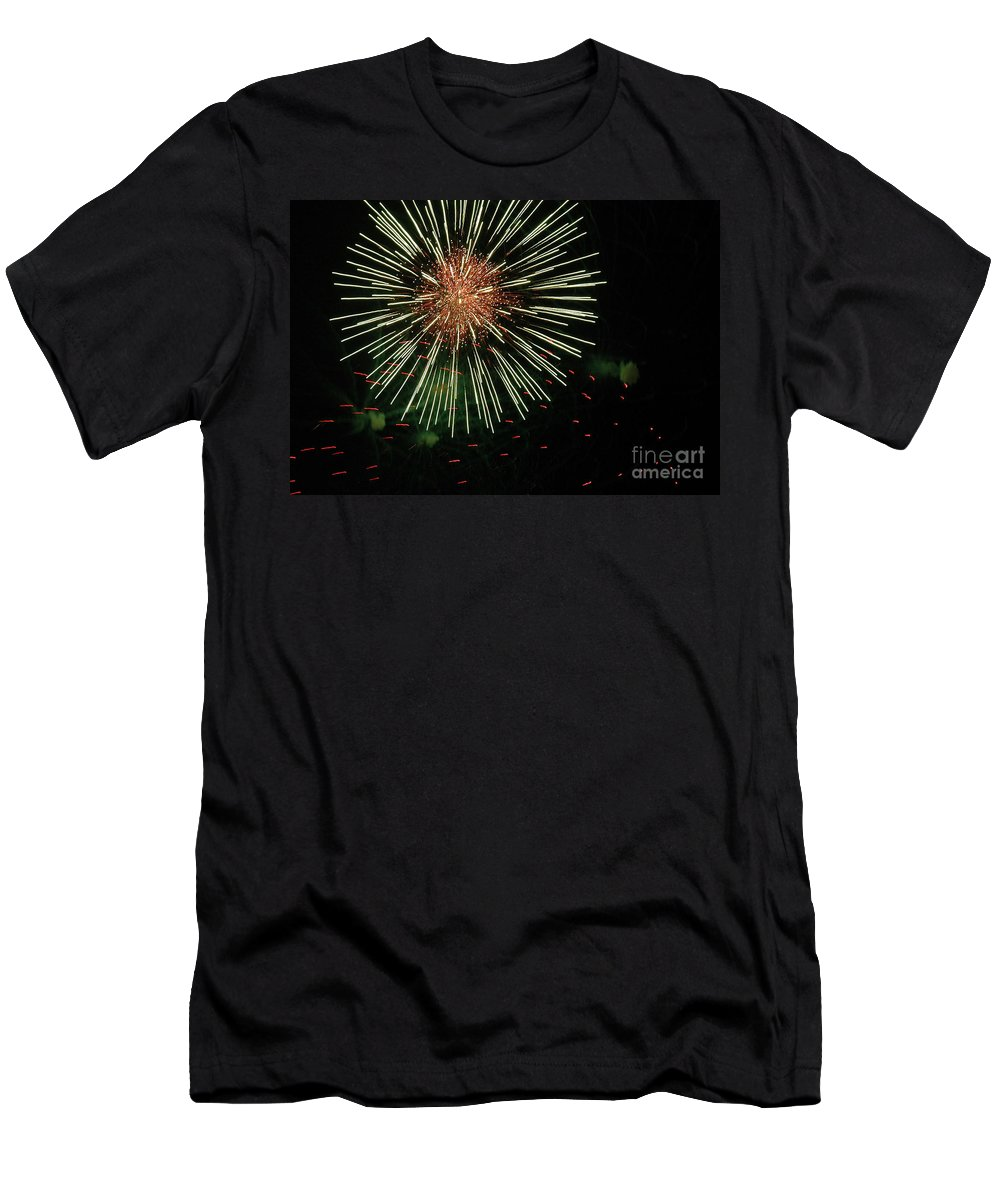 Fireworks Men's T-Shirt (Athletic Fit) featuring the photograph Atom Burst by Norman Andrus
