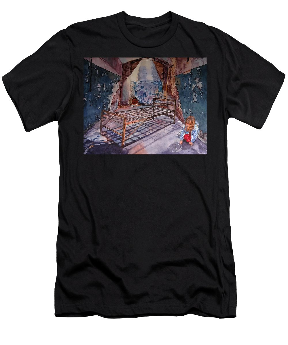 Social Commentary Men's T-Shirt (Athletic Fit) featuring the painting Attitude by Valerie Patterson