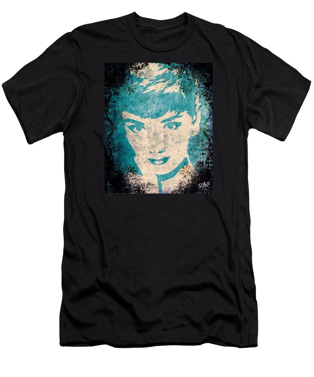 Audrey Hepburn Men's T-Shirt (Athletic Fit) featuring the digital art Audrey Hepburn by Bitta - Silvia Mariottini