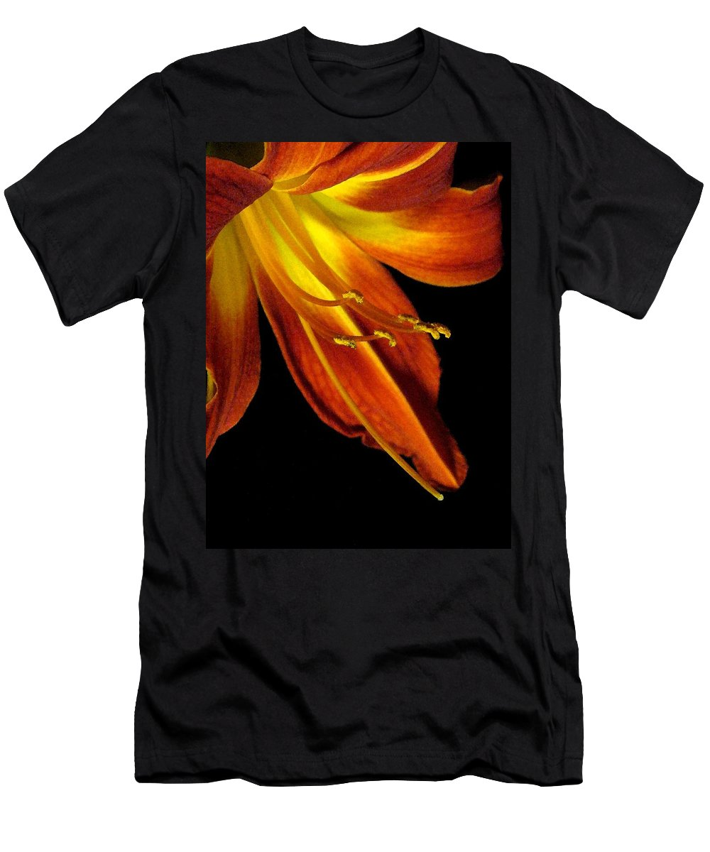 Red Men's T-Shirt (Athletic Fit) featuring the photograph August Flame Glory Watercolor by Carolyn Jacob