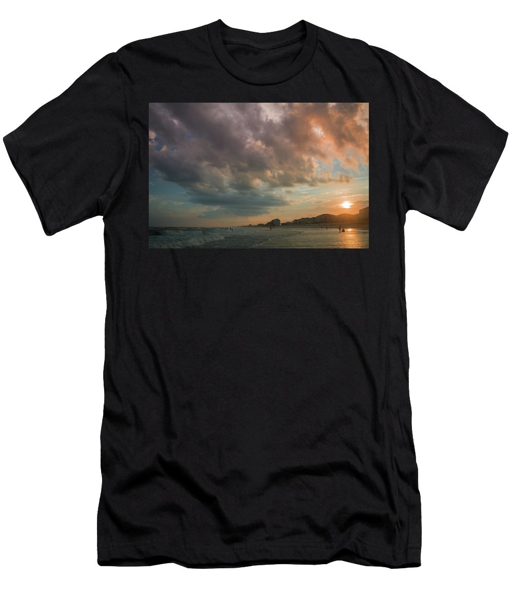 Beach Men's T-Shirt (Athletic Fit) featuring the photograph August Skies Over Ocean Isle Beach by Gerald Monaco