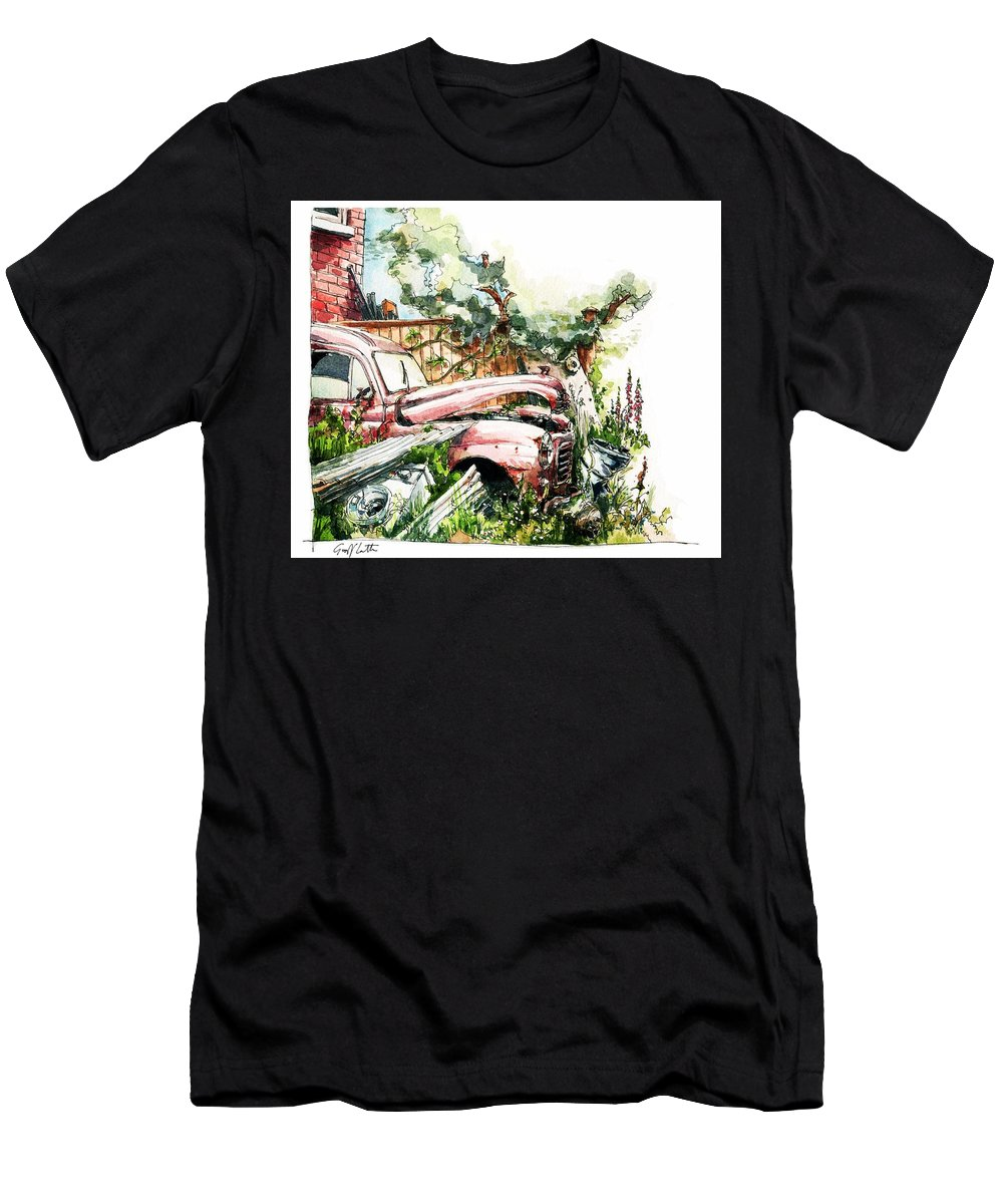 Austin A40 Van Rusting Away In The Garden Men's T-Shirt (Athletic Fit) featuring the painting Austin A40 Van Rusting Away In The Garden by Geoff Latter