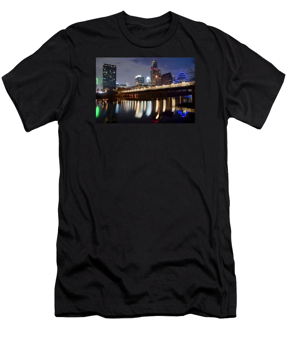 Austin Men's T-Shirt (Athletic Fit) featuring the photograph Austin From Below by Frozen in Time Fine Art Photography