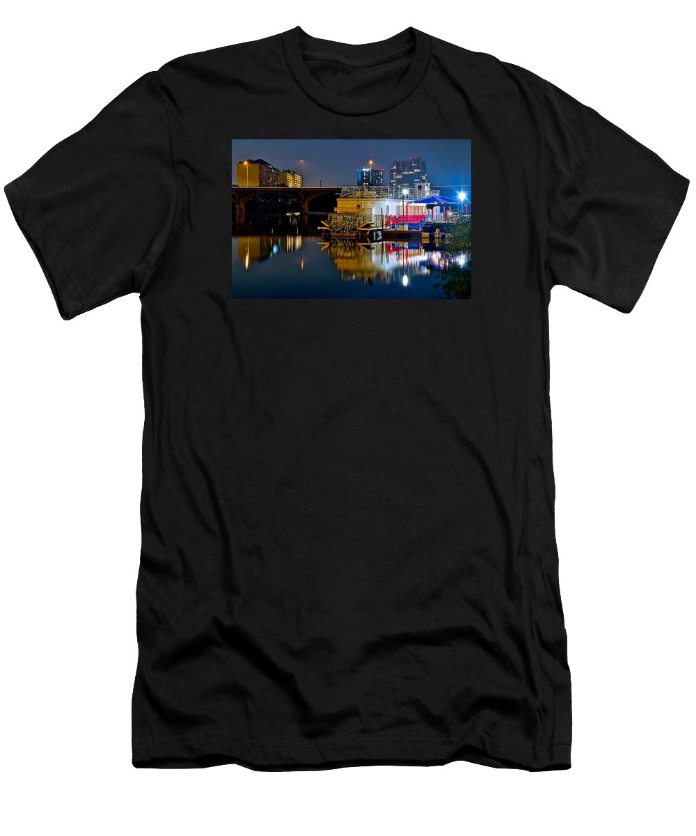 Austin Men's T-Shirt (Athletic Fit) featuring the photograph Austin River Boat by Frozen in Time Fine Art Photography