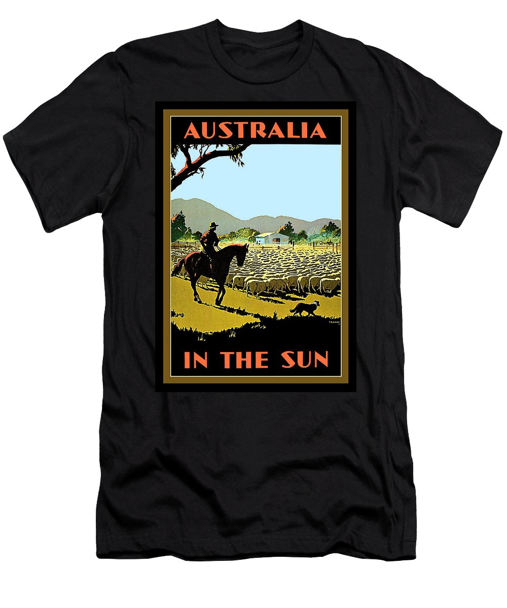 Australia Men's T-Shirt (Athletic Fit) featuring the painting Australia, Shepherd by Long Shot