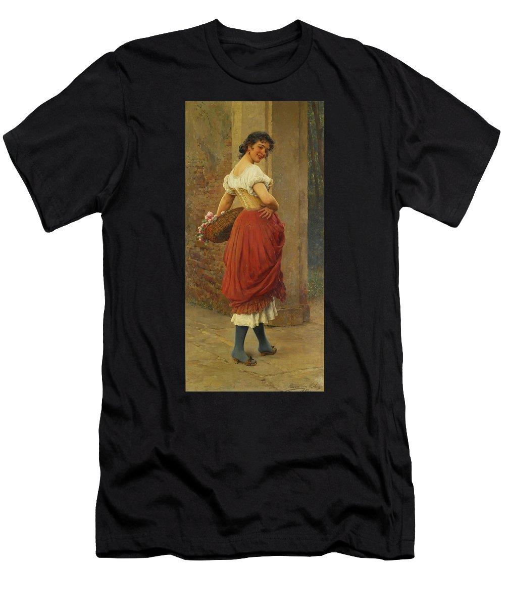 Eugen Von Blaas 1843 - 1931 Austrian A Stolen Glance Men's T-Shirt (Athletic Fit) featuring the painting Austrian A Stolen Glance by MotionAge Designs