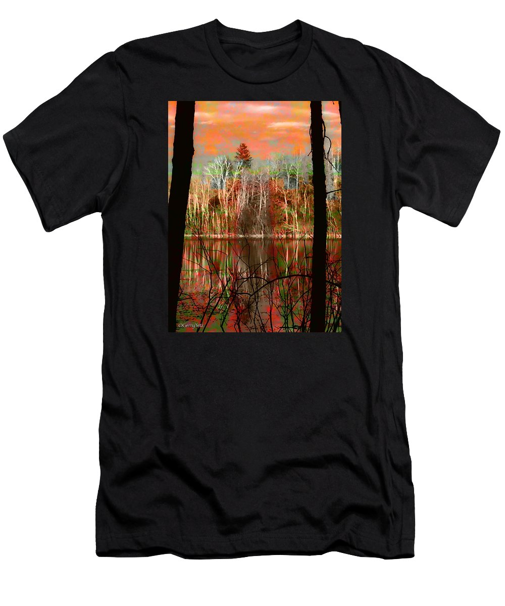Autumn Waters Birch Mountain Ash Spruce Wetlands Parklands Fall Colors Alberta Canada Men's T-Shirt (Athletic Fit) featuring the photograph Autmn Waters by Gerry Tetz