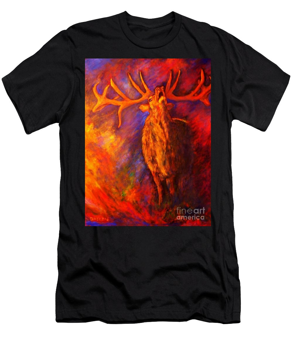 Deer T-Shirt featuring the painting Autum-serenade by Dagmar Helbig