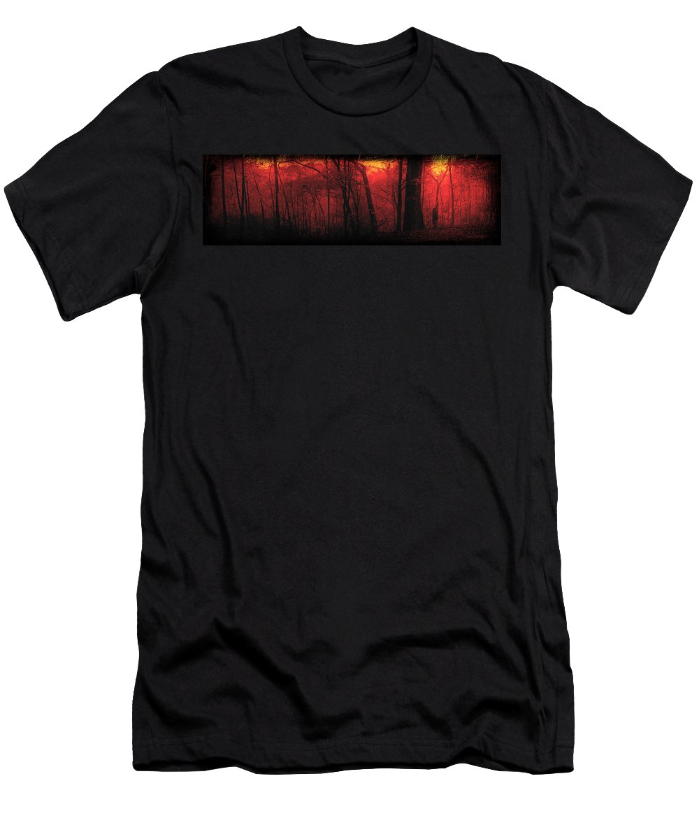 Woods Men's T-Shirt (Athletic Fit) featuring the mixed media Autumn 2015 Panorama In The Woods Pa 06 by Thomas Woolworth