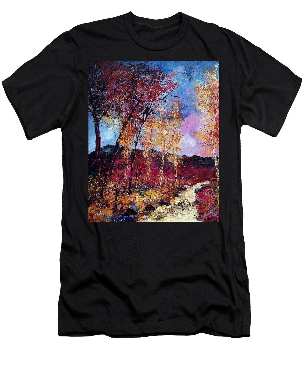 Landscape Men's T-Shirt (Athletic Fit) featuring the painting Autumn 760808 by Pol Ledent