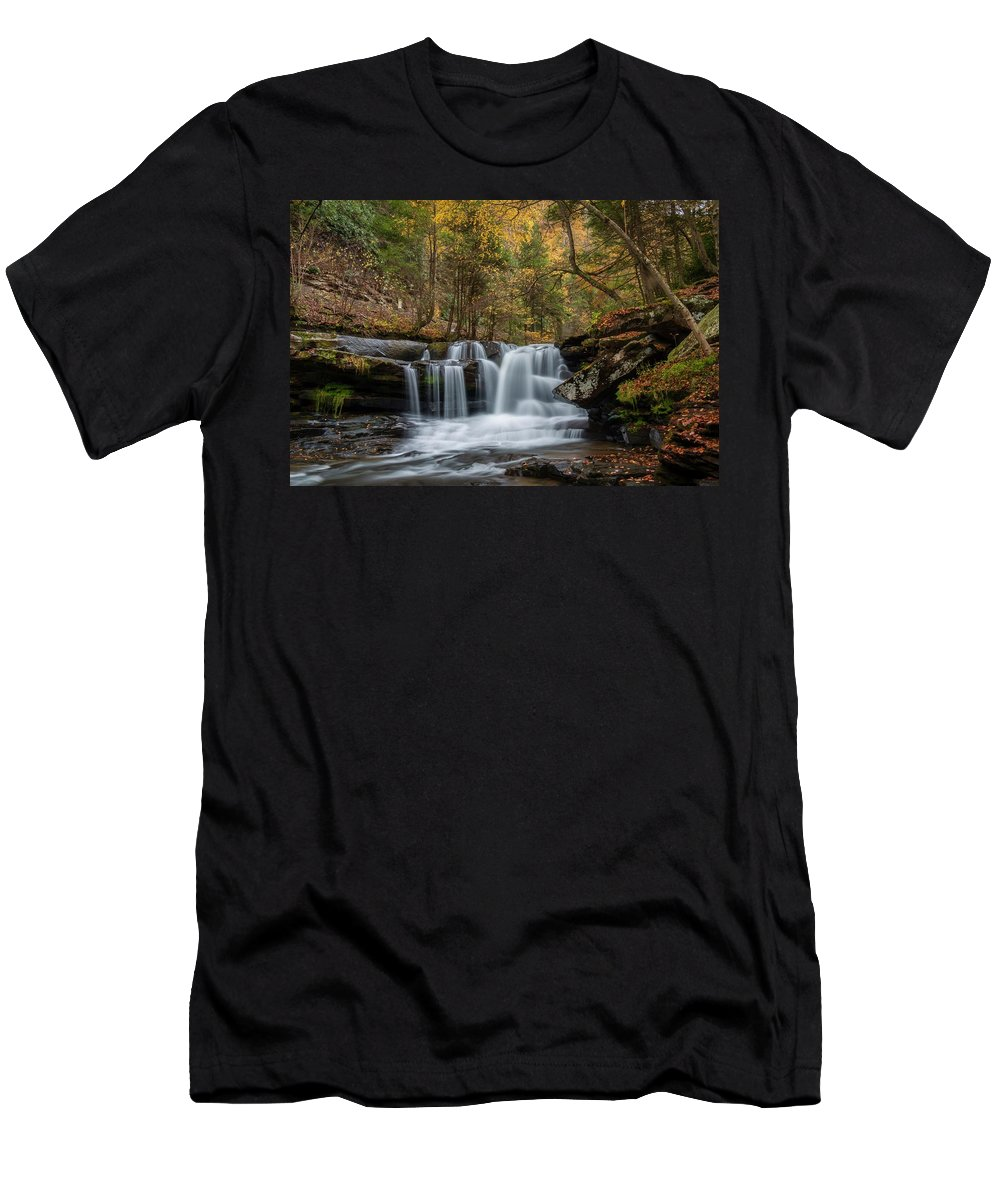 Dunloup Creek Falls Men's T-Shirt (Athletic Fit) featuring the photograph Autumn At Dunloup Creek Falls by Chris Berrier