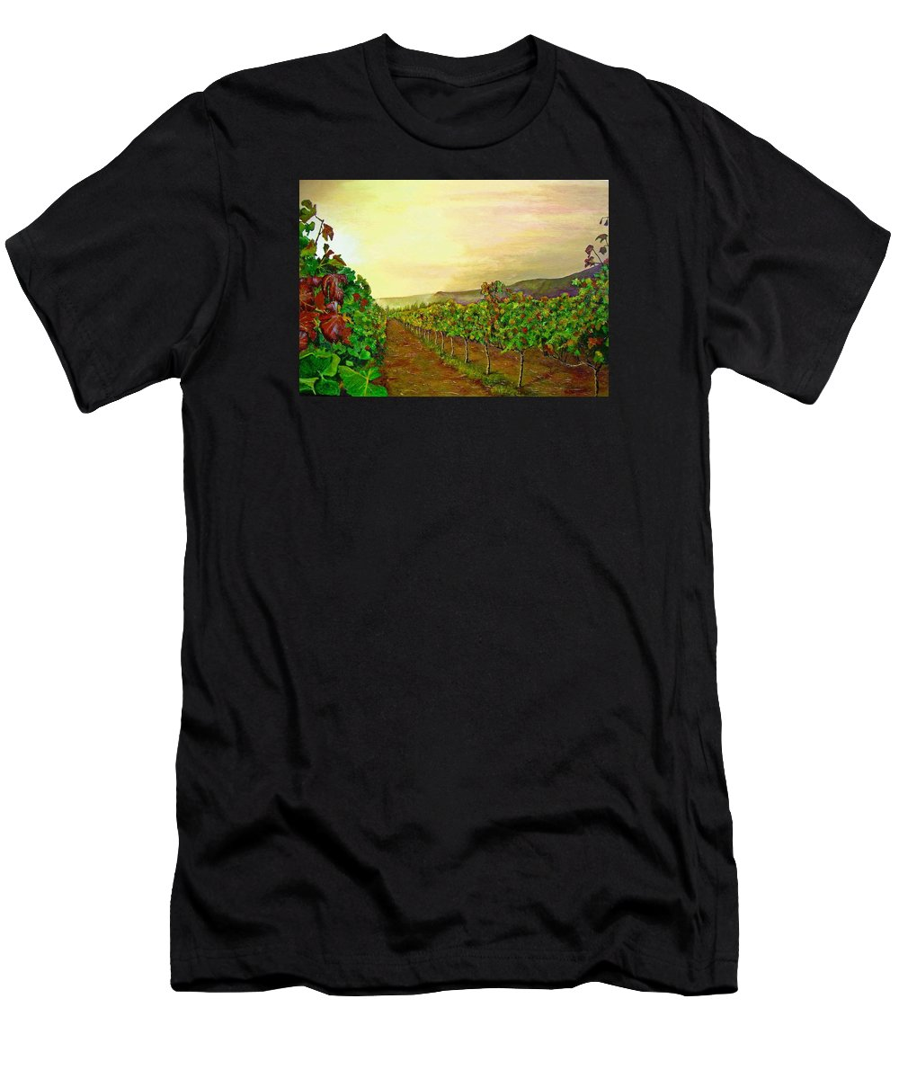 Vineyard Men's T-Shirt (Athletic Fit) featuring the painting Autumn At Steenberg by Michael Durst