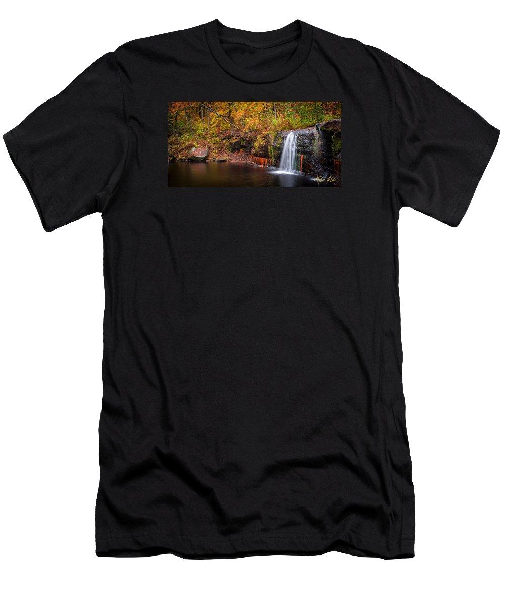 Autumn Men's T-Shirt (Athletic Fit) featuring the photograph Autumn At Wolf Creek Falls by Rikk Flohr
