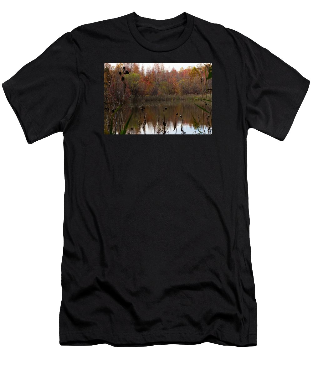 Autumn Fall Leaf Leaves Landscape Colors Men's T-Shirt (Athletic Fit) featuring the photograph Autumn by Brian Schultz