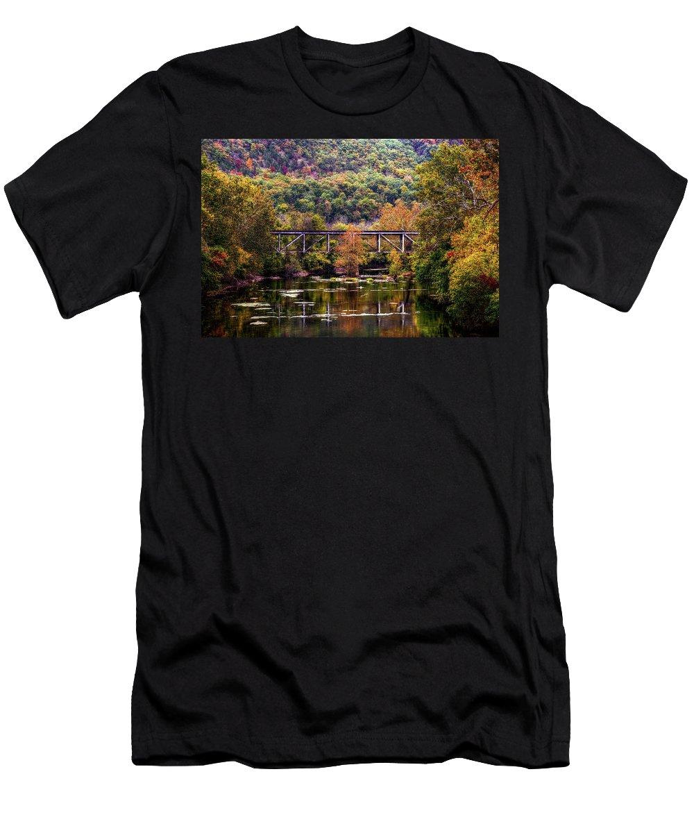 Autumn Men's T-Shirt (Athletic Fit) featuring the photograph Autumn Bridge by Ronda Ryan