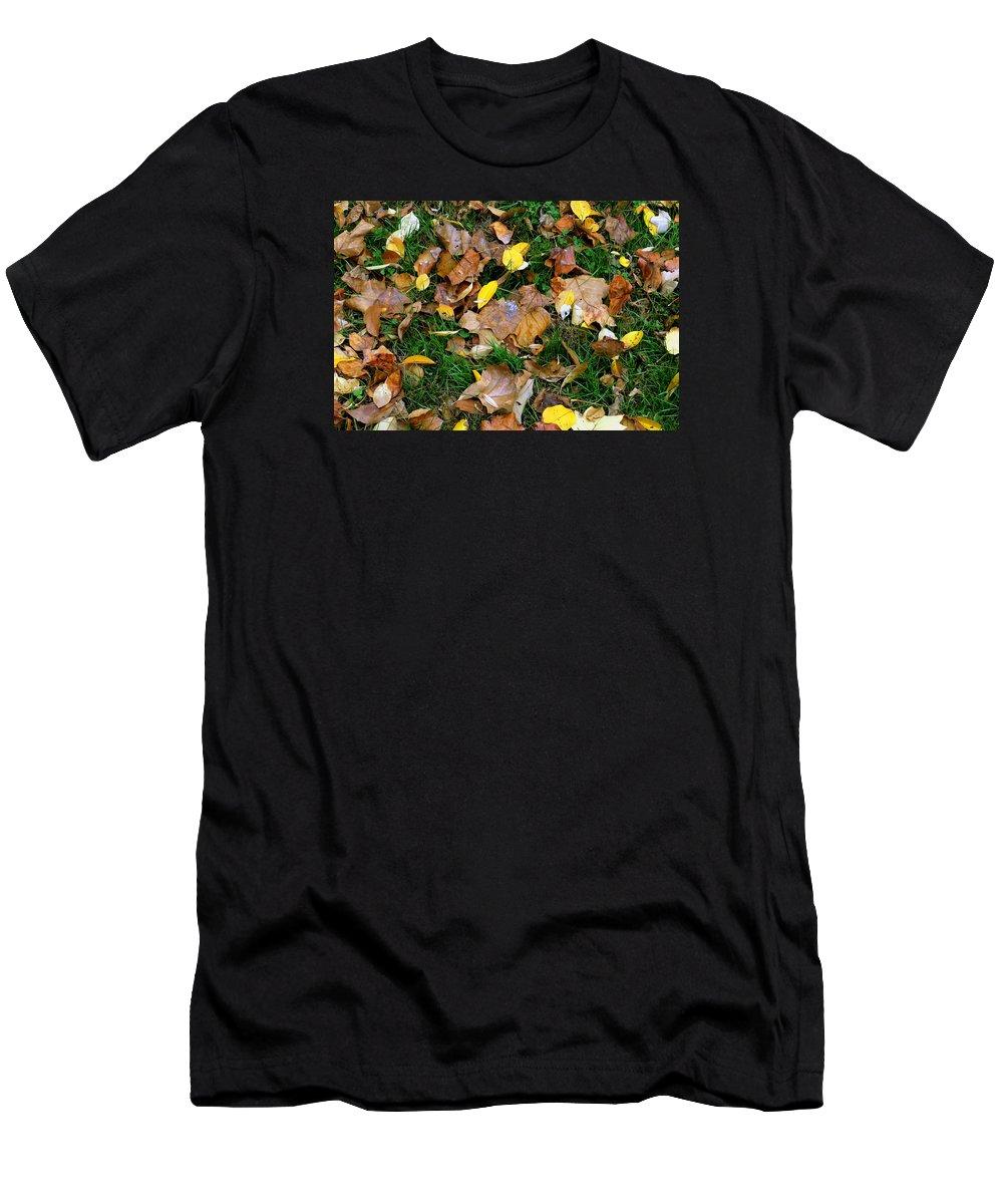11.06.15_a 005 Men's T-Shirt (Athletic Fit) featuring the photograph Autumn Carpet 002 by Dorin Adrian Berbier