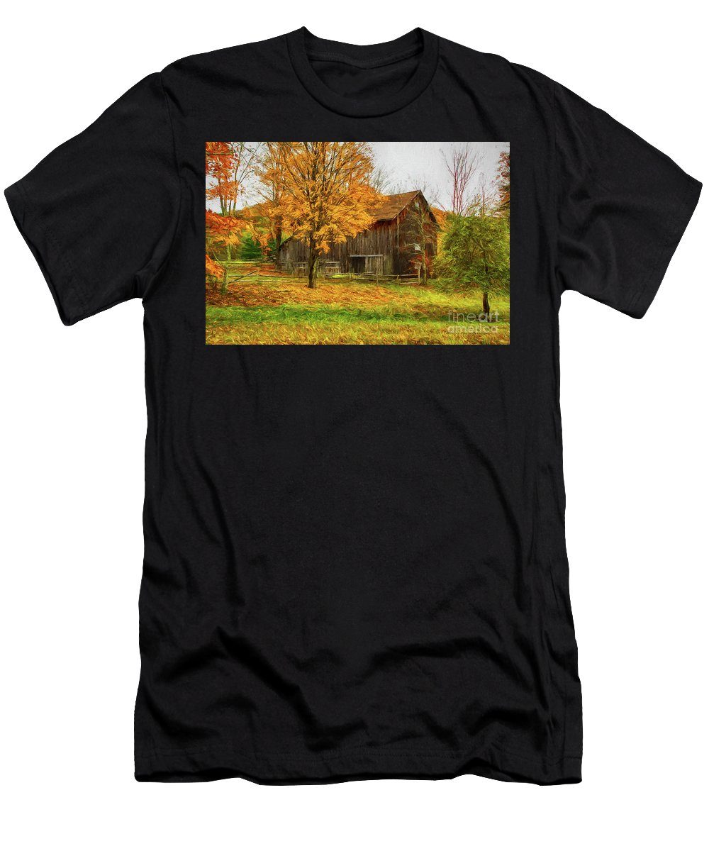 Autumn Men's T-Shirt (Athletic Fit) featuring the painting Autumn Catskill Barn by Deborah Benoit