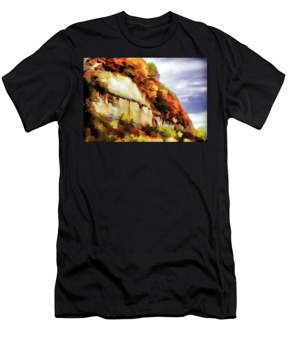 Autumn Men's T-Shirt (Athletic Fit) featuring the photograph Autumn Cliffs On Way To Hannibal, Missouri by Lila Bahl