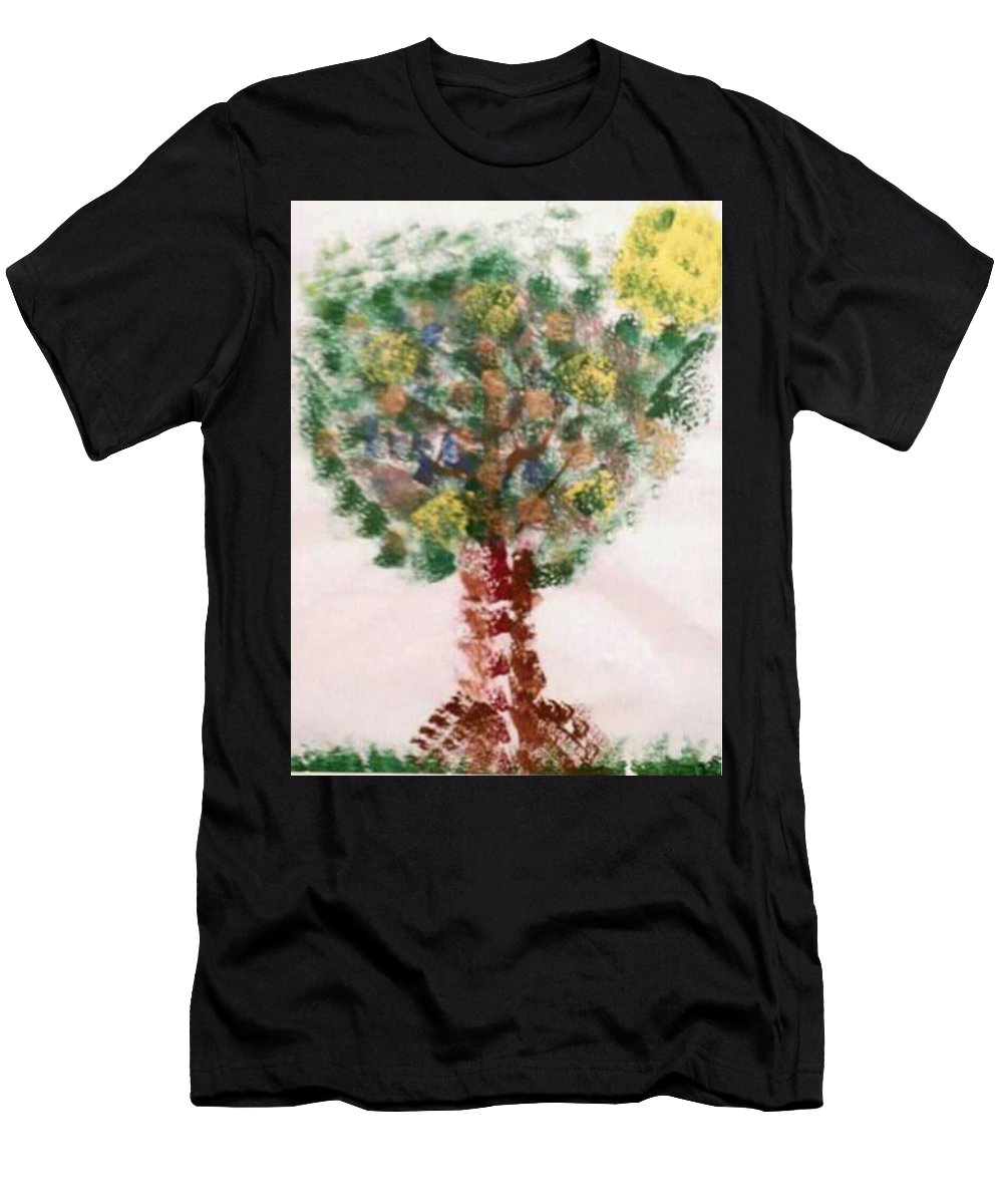Acrylic Abstract Tree Yellow Sun Brown Nature Green Men's T-Shirt (Athletic Fit) featuring the painting Autumn Delight by Kathy Watson