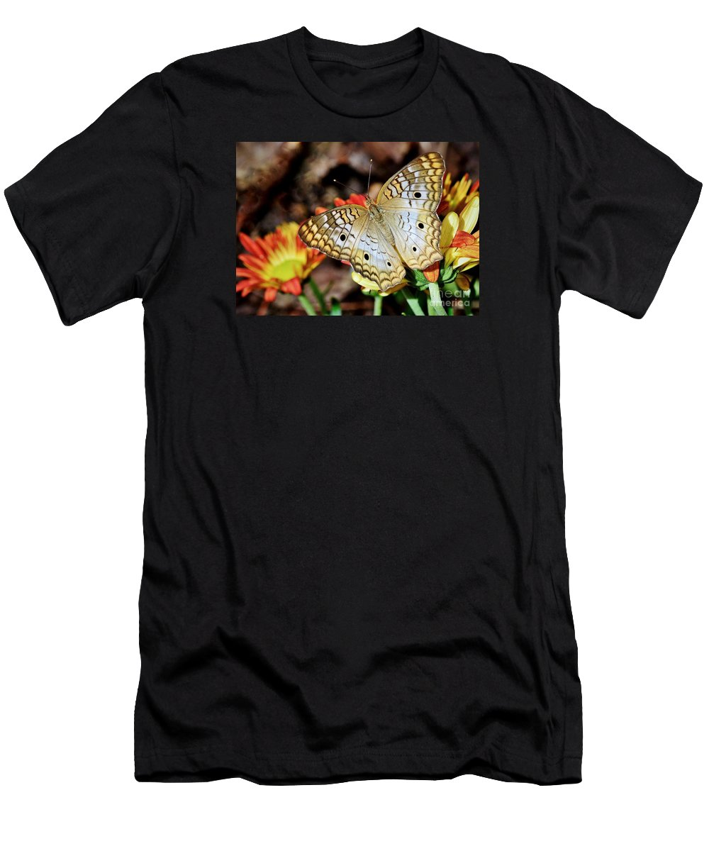 Butterfly Men's T-Shirt (Athletic Fit) featuring the photograph Autumn Delight by Lisa Renee Ludlum