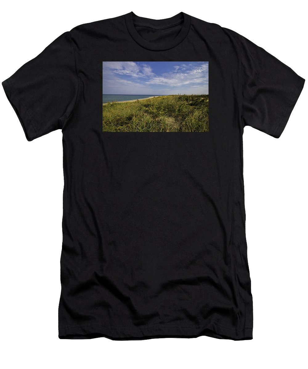 Dune Shack Men's T-Shirt (Athletic Fit) featuring the photograph Autumn Dune View by Marisa Geraghty Photography