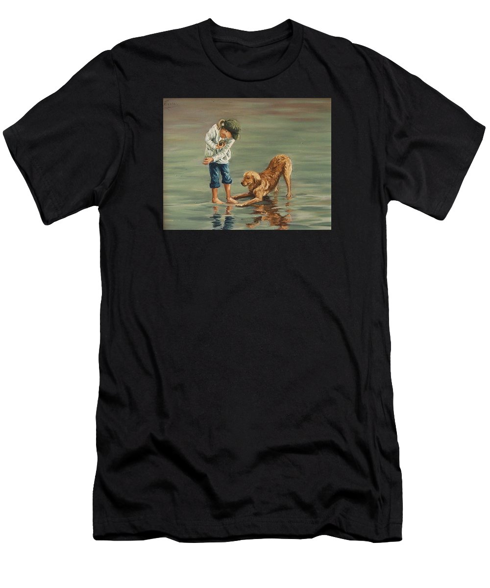 Girl Kid Child Figurative Dog Sea Reflection Playing Water Beach Men's T-Shirt (Athletic Fit) featuring the painting Autumn Eve by Natalia Tejera